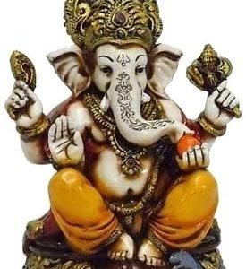 Lightahead The Blessing. A Colored & Gold Statue of Lord Ganesh Ganpati Elephant Hindu God Made from Marble Powder